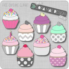 Free printable cupcake clipart for junk journals, art journals or scrapbooking.