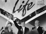 Phyllis Schlafly, Vice President Dan Quayle and Jerry Falwell share the stage at the Republican National Coalition for Life Rally during the 1992 Republican National Convention in Houston.