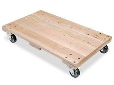 """Solid Top Hardwood Dolly - 30 x 18"""", 3"""" Casters H-1543 - Uline"""