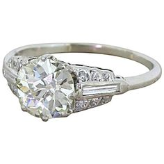 Art Deco 1.42 Carat Old Cut Diamond Platinum Ring   From a unique collection of vintage engagement rings at https://www.1stdibs.com/jewelry/rings/engagement-rings/