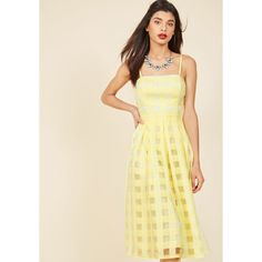 Sweet Sunday Midi Dress (12.950 HUF) ❤ liked on Polyvore featuring dresses, apparel, fashion dress, yellow, gingham print dress, gingham dress, beige dress, see-through dresses and mid calf dresses