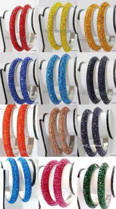 Indian Handmade Fashion Jewelry Crystal Bling 5 Line Multicolor Bangle Bracelet #MYCRYSTALBANGLES #Bangle