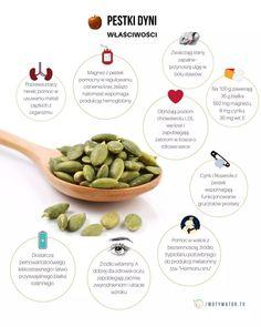 Pestki dyni - wartości odżywcze, właściwości lecznicze, zastosowanie - Motywator Dietetyczny Health Eating, Cos, Food Porn, Beans, Food And Drink, Wellness, Vegetables, Diet, Health