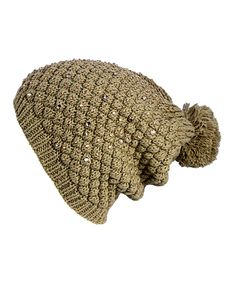 Look at this B&B Couture Tan Pom-Pom Beanie on #zulily today!