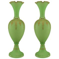 Selected by Valerie Boster: Elegant Pair of 19th c. French Opaline Vases | From a unique collection of antique and modern vases at http://www.1stdibs.com/furniture/more-furniture-collectibles/vases/