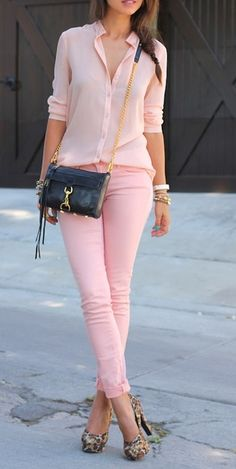 lovely pants option // not necessarily pink on pink - but the sheer top with skinny jeans + pumps will fancy this look up