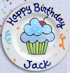 Birthday Blue Cupcake Personalized Plate :: For That Occasion