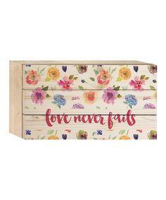 Look at this #zulilyfind! 'Love Never Fails' Lath Box Sign #zulilyfinds
