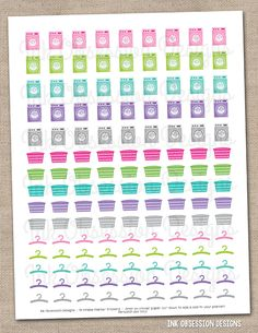 Laundry Printable Planner Sticker Instant Download PDF