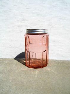 Pink Depression Glass Jar Vintage Pink