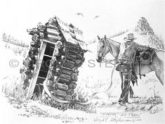 Markin' His Trail, outhouse pencil drawing by western Artist Virgil C. Stephens at his website at www.notevena.com