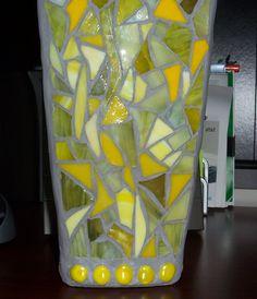 "Yellow Vase  Artist: Barb Fernandez ""CF Creations"" Yellow Vase, Mosaics, Table Lamp, Artist, Home Decor, Table Lamps, Decoration Home, Room Decor, Artists"