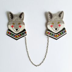 Wolf collar clips // shrink plastic // wolf sweater by whistleburg