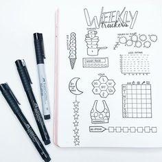 Exemple de weekly tracker pour Bullet journal