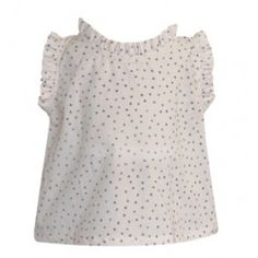 "Go Gently Baby :: The name says it all, ""sweet""!  sleeveless blouse made from100% organic cotton poplin with tattered dot print. Blouse features sweet ruffles at neck & arms and a key hole opening at center back with white rivershell button.   Fit: true to size	  100% Organic Cotton   Color: cream with Slate Dots		  #Kidsfashion #OrganicClothing #ShopBelle"
