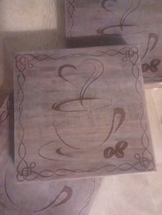 Coffee Wooden coasters. Set of 4. We also do custom designs. You choose what you want on them. Contact us prior to placing a custom order.