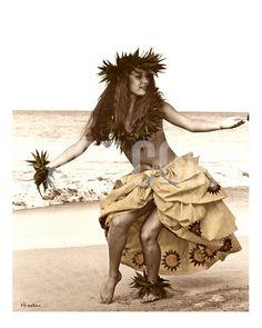 Hula Dancer in Tapa Skirt