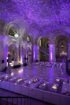 """This is the perfect """"starry nights"""" themed wedding reception. For more amazing ideas, click the image and learn all about wedding decor and rentals from Nashville's Grand Central Party Rental wedding rentals. Connect with them Central Party Rental. Purple Love, All Things Purple, Purple Stuff, Pink, Purple Sweet 16, The Color Purple, Sweet 15, Wedding Rentals, Wedding Venues"""