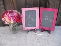 SMALL Shabby Chic Rustic Distressed Chalkboards with EASELS for Signs and Table Numbers or Photo Props (You Pick Color) - Item 1243. $14.00, via Etsy.