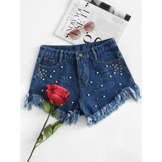 SheIn(sheinside) Frayed Hem Faux Pearl Beading Denim Shorts ($18) ❤ liked on Polyvore featuring shorts, blue, loose fit denim shorts, jean shorts, short jean shorts, fringe shorts and short denim shorts
