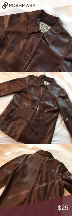 Eddie Baurer Leather Jacket This leather jacket is about 10 years old but still has many years left. The top of the right shoulder is rubbed off a little from carrying purses. Buttons are all intact but one needs to be reinforced. No other flaws that I️ noticed. Eddie Bauer Jackets & Coats