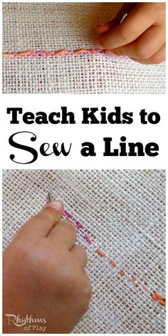 Learning to sew is an important home life skill. Teach kids to sew a line by hand using burlap and yarn for a simple beginning lesson in embroidery. Teaching kids to sew is an easy homeschool learning project for preschoolers and elementary aged kids. It is a fine motor activity that will help prepare the hand for writing and more detailed handwork projects. Sewing with kids is a fun and easy learning activity found in Waldorf and Montessori education.
