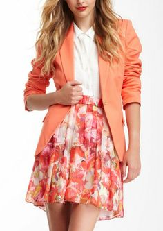 Beautiful Floral Skirt paired with a blazer or jean jacket or leather would be super cute
