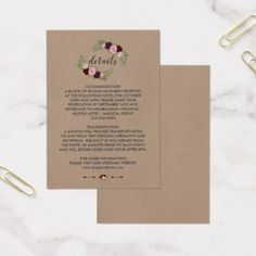 Rustic Marsala Floral Craft Paper Wedding Details Business Card - paper gifts presents gift idea customize