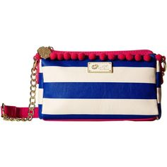 Luv Betsey Lola Crossbody (Navy/White) Cross Body Handbags ($24) ❤ liked on Polyvore featuring bags, handbags, shoulder bags, blue, hand bags, chain strap crossbody, betsey johnson crossbody, purse pouch and crossbody shoulder bags