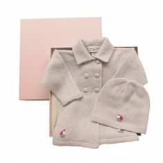 baby boy cashmere sailing boat jacket & hat