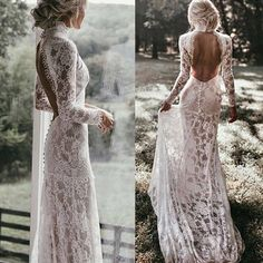 Vintage Lace High Neck Mermaid Wedding Dress Long Sleeves Sexy Open Back Bridal Gowns Court Train Boho Wedding Party Dress – Wedding Gown Wedding Dress Tea Length, Boho Wedding Dress With Sleeves, Western Wedding Dresses, Lace Dress With Sleeves, Long Wedding Dresses, Prom Dresses, Dress Wedding, Event Dresses, Party Wedding