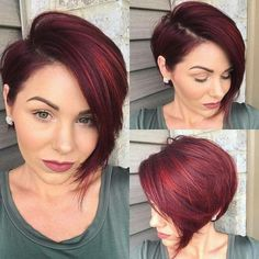 Top Coolest Hair Styles For Women Over We all sometimes need to adorn cool hairstyles that makes us feel extremely confident and improve our daily interactions with others. Double Chin Hairstyles, Pixie Hairstyles, Cool Hairstyles, Female Hairstyles, Hair Color And Cut, Haircut And Color, Short Hair Cuts For Women, Short Hair Styles, Short Red Hair