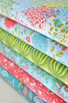 green, coral, light blue, yellow, chartreuse    High Society - Hannah colorway for Anthology (image from Hawthorne fabrics)