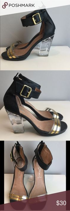 BACK ON SALE Jeffery Campbell heels! Trendy! Great and comfy for a night out two strap heels! Zip up back with clear heel and two toned clear and gold toe strap Jeffrey Campbell Shoes Heels