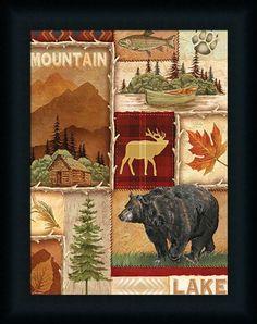 Lodge Collage I Ed Wargo Bear Log Cabin 16x12 Framed Wall Art Print Picture #FramedArtbyTilliams