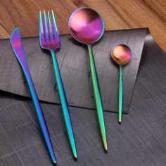 Rather gorgeous but a bit too exe.... SpaceRainbow™ - Premium Stainless Steel Rainbow 18/10 Silverware Set (8 / 16 / 24 Pieces)