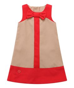 Another great find on Tan & Red Bow Color Block Shift Dress - Infant, Toddler & Girls by Richie House Baby Outfits, Little Dresses, Little Girl Dresses, Kids Outfits, Fashion Kids, Toddler Fashion, Girl Fashion, Kids Frocks, Frocks For Girls