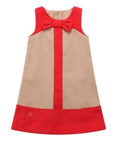 Tan Color Block Wool-Blend Shift Dress - Infant, Toddler & Girls #zulily #zulilyfinds
