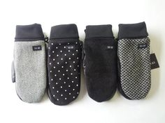 Wool and black leather mittens men and women by System63 on Etsy