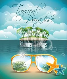 Vector Summer Holiday Flyer Design with palm trees and Paradise Island on clouds background. Eps10 illustration. - Royalty Free Vector Illustration