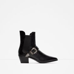 Image 1 of HEELED LEATHER ANKLE BOOT WITH BUCKLE from Zara
