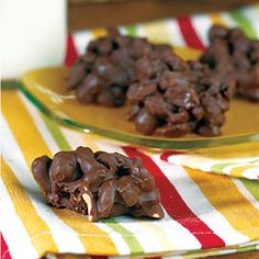 Triple Chocolate-Covered Peanut Clusters | MyRecipes.com.  I'm going to make these using almonds.