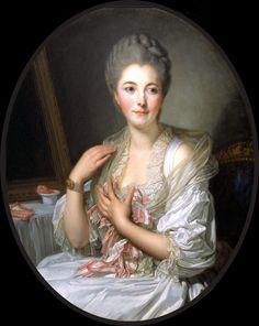 """""""Portrait Of Madame De Courcelles At Her Toilette"""" -- by Jean Baptiste Greuze"""
