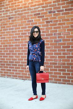 Style: Vintage Birdy Print and Retro Red