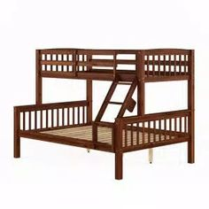 Harper & Bright Designs Espresso Twin Bunk Bed Over with Trundle Bed and End Ladder-SK000067AAP - The Home Depot Full Size Bunk Beds, Double Bunk Beds, Cool Bunk Beds, Twin Bunk Beds, Kids Bunk Beds, Bed On Stilts, Curved Bed, Elevated Bed, Space Saving Beds