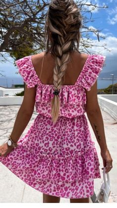 Fuchsia summer dress, pink dress, pink mini dress, mini dress, summer dress, ruffle detail dress, fuchsia mini dress Casual Day Dresses, Summer Dresses, Leopard Dress, Fashion Room, No Frills, Boutique, Mini, Floral, Shopping
