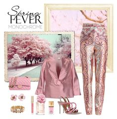 """Color Me Pretty: Head-to-Toe Pink"" by dezaval ❤ liked on Polyvore featuring Zimmermann, Cailan'd, Chanel, Malone Souliers, Tommy Hilfiger, Yves Saint Laurent and Stila"