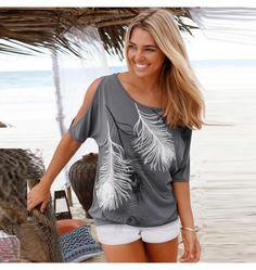 Rundhals Shirt mit Motiv für Damen