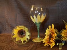 Hand Painted Wine Glasses with Sunflower Design #EasyPin