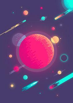 Space illustration + wallpaper & poster.Copyright @ 2013 Nina Geometrieva